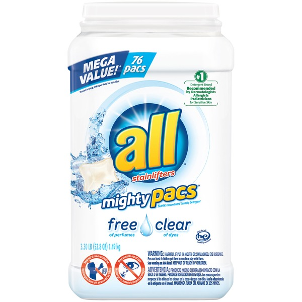 all Stainlifters Mighty Pacs Super Concentrated Laundry Detergent Free Clear 2