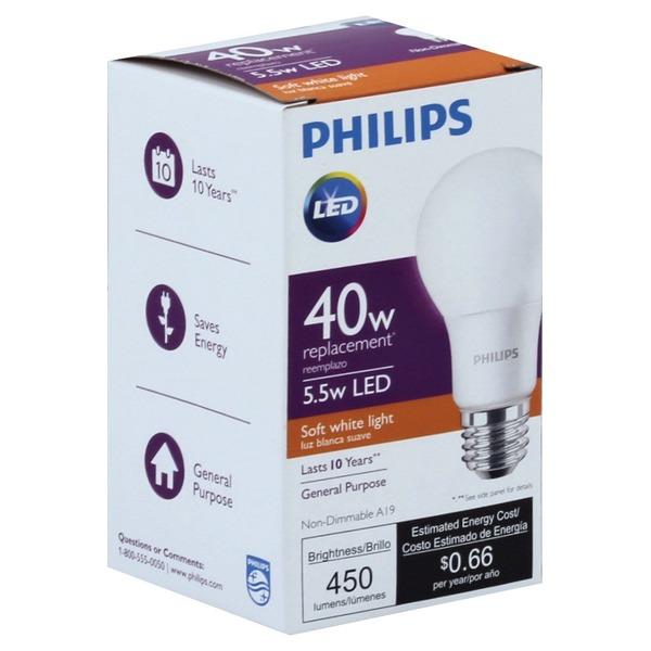 Philips Light Bulb, LED, Soft White Light, 5 5 Watts (1 each