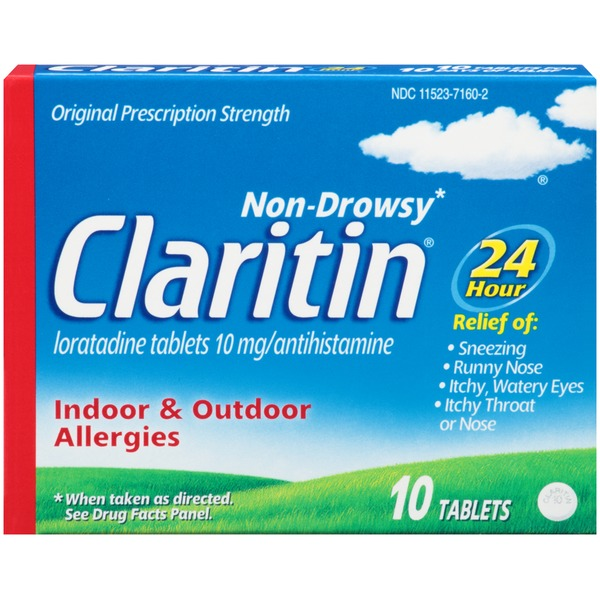 Claritin 24 Hour Non-Drowsy Indoor & Outdoor Allergies Tablets Antihistamine