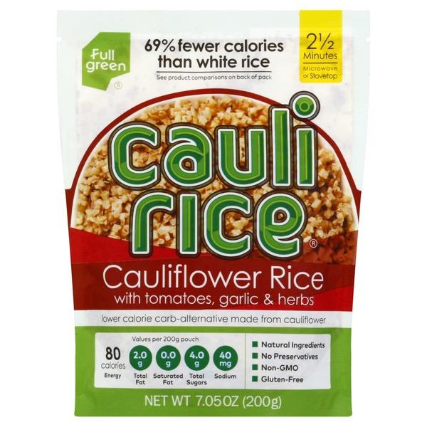 Full Green Cauliflower Rice, with Tomatoes, Garlic & Herbs (7 05 oz