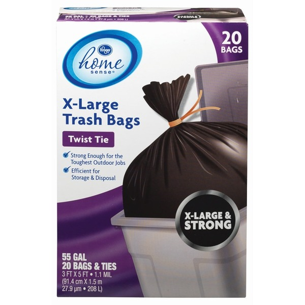 Kroger 55 Gallon Home Sense Extra Large Twist Tie Trash Bags