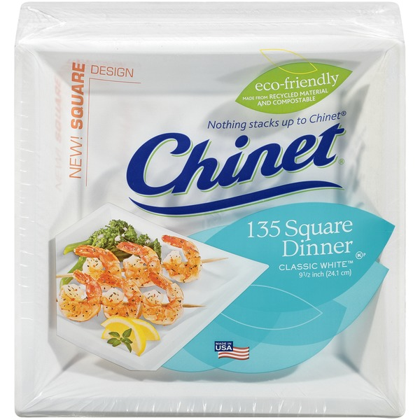 Classic White 9-1/2 Inch Square Dinner 9-1/2 Inch Square Dinner