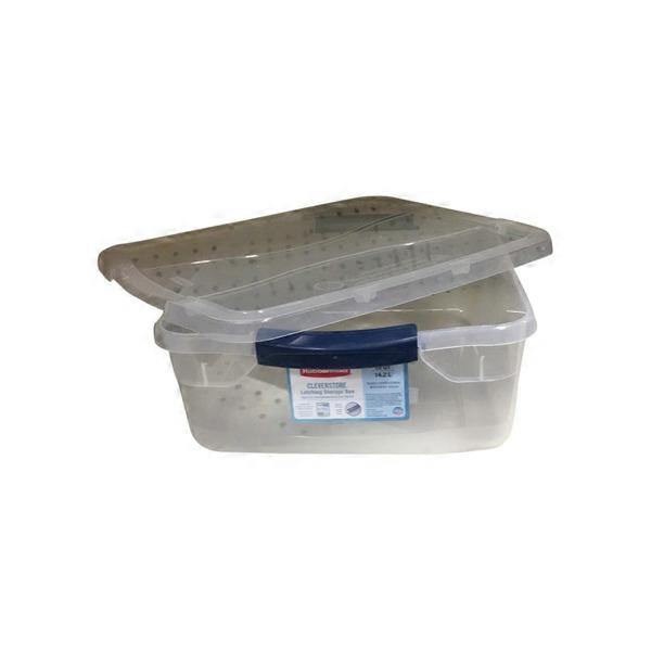 Genial Rubbermaid Clever Store 15 Quart Clear Basic Latch Storage Bin With Lid