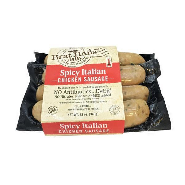 Brat Hans Spicy Italian Chicken Sausage 12 Oz From Whole Foods