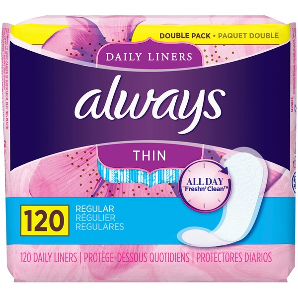 Always Daily Liners, 120 Count, Unscented, Wrapped, Regular