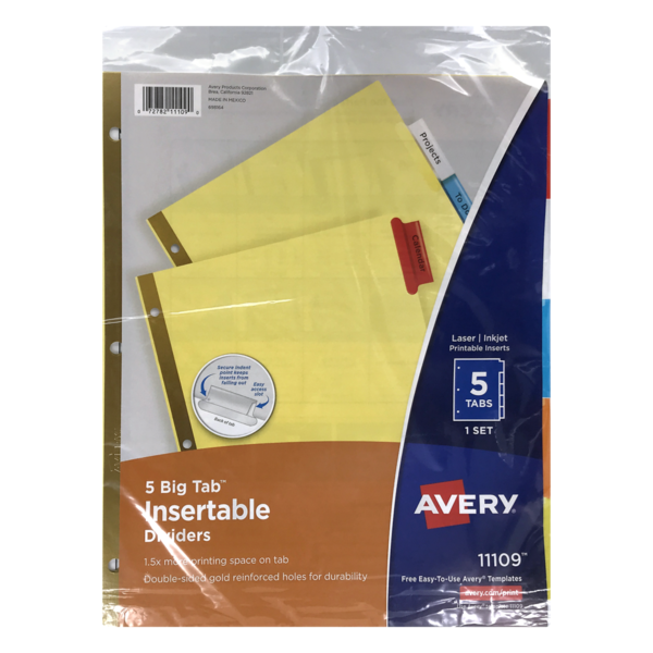 graphic relating to Avery Printable Tabs named Avery Laser Inkjet Printable Inserts (5 ct) towards Fred Meyer
