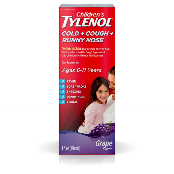 Tylenol Childrens Cold Cough Runny Nose Oral Suspension Grape
