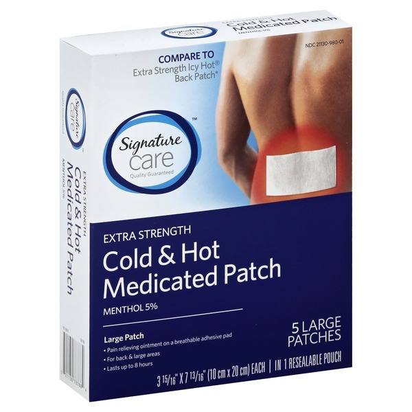 Signature Medicated Patch, Cold & Hot, Extra Strength, Large