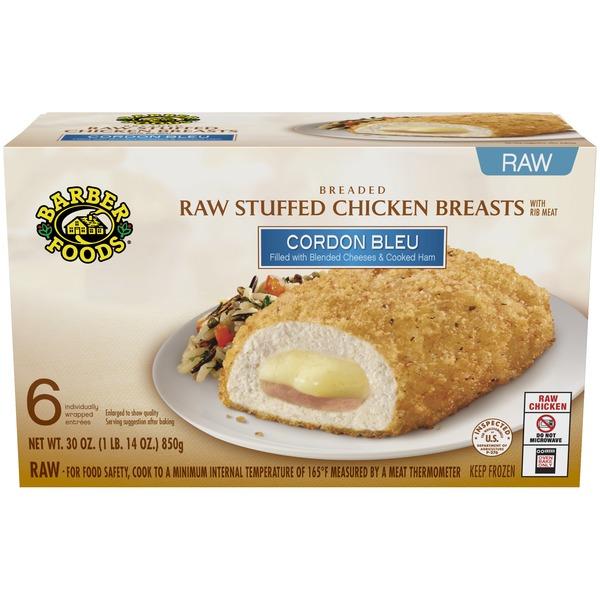 Barber Foods Stuffed Chicken Breasts Raw Breaded Cordon Bleu 6 Each Instacart