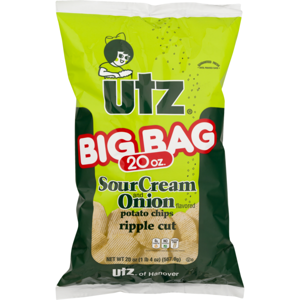 Utz Ripple Cut Potato Chips Sour Cream & Onion (20 oz ...