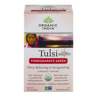 Organic India Tulsi Holy Basil Pomegranate Green Herbal Supplement Infusion Bags
