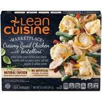 Lean Cuisine Marketplace Grilled white meat chicken over cheese tortellini with Italian green beans, red bell peppers, and yellow carrots Creamy Basil Chicken with Tortellini