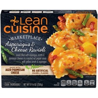 Lean Cuisine Marketplace Ravioli filled with asparagus, ricotta and Parmesan cheeses in a roasted red pepper sauce with yellow carrots & asparagus Asparagus & Cheese Ravioli