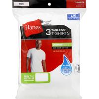 Hanes T-Shirts, Tagless, White, L/G