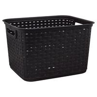 Sterilite Plastic Basket, Espresso, Weave, Tall