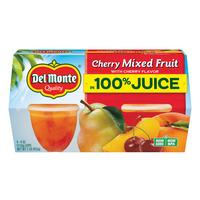 Del Monte Cherry Mixed Fruit in Cherry Flavored 100% Juice Plastic Fruit Cup Snacks
