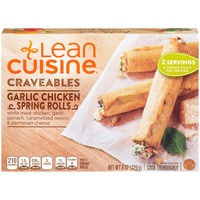 Lean Cuisine Craveables White meat chicken, garlic, spinach, caramelized onions, and Parmesan cheese Garlic Chicken Spring Rolls