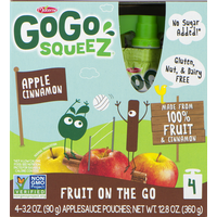 GoGo Squeez Apple Sauce, Cinnamon, 4 Pack