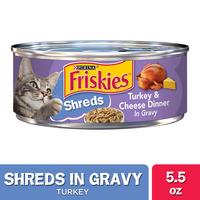 Friskies Gravy Wet Cat Food, Shreds Turkey & Cheese Dinner