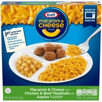 Kraft Macaroni & Cheese with Chicken & Beef Meatballs and Apples Dinner