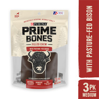 Purina Prime Bones Dog Bone, Made in USA Facilities, Natural Medium Dog Treats, Filled Chew With Pasture-Fed Bison