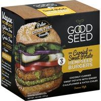 Good Seed Burgers, Hempseed, Curried Sweet Potato, Samosa Style