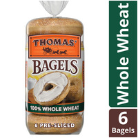 Thomas 100% Whole Wheat Soft & Chewy Pre-Sliced Bagels