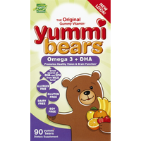 Yummi Bears Omega 3 + DHA, Gummy Bears, Fruit Flavors