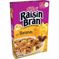 Kellogg's Raisin Bran Breakfast Cereal, Fiber Cereal, Made with Real Fruit, Original with Bananas