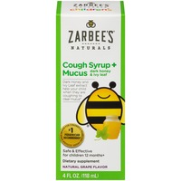 Zarbee's Naturals Children's Cough Syrup + Mucus with Dark Honey, Natural Grape Flavor Dietary Supplement
