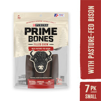 Purina Prime Bones Made in USA Facilities Natural Small Dog Treats, Filled Chew With Pasture-Fed Bison
