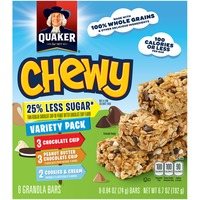 Quaker Chewy Chewy 25% Less Sugar Chocolate Chip, Peanut Butter Chocolate Chip, Cookies & Cream Variety Pack Granola Bars