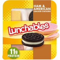 Lunchables Ham & American Cheese Cracker Stackers Snack Kit with Chocolate Sandwich Cookies