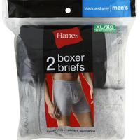 Hanes Boxer Briefs, Men's, XL, 40-42 Inch, Black & Grey