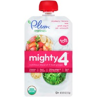 Plum Tots Organics Mighty 4 Tots Strawberry Banana Kale Greek Yogurt Oat Amaranth Nutrition Blend of 4 Food Groups