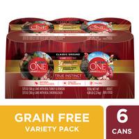 Purina ONE Grain Free, Natural Pate Wet Dog Food Variety Pack, SmartBlend True Instinct