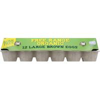 Born Free Eggs, Organic, Brown, Free Range, Large