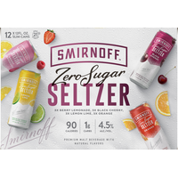 Smirnoff Hard Seltzer, Zero Sugar, Assorted