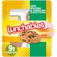 Lunchables Light Bologna & American Cheese Cracker Stackers Snack Kit with Chocolate Chip Cookies
