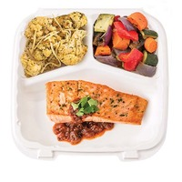 Wegmans EZ Meals Pan Seared Salmon with Cherry Tomato Salsa, Roasted Vegetables & Roasted Cauliflowe
