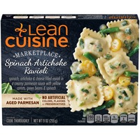 Lean Cuisine Marketplace Spinach, artichoke and cheese filled ravioli in a creamy Parmesan sauce with yellow carrots, green beans & spinach Spinach Artichoke Ravioli