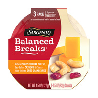 Sargento® Balanced Breaks® Natural Sharp Cheddar Cheese, Sea-Salted Cashews and Cherry Juice-Infused Dried Cranberries