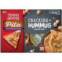Townhouse Pita Mediterranean Herb Crackers + Hummus Snack Box